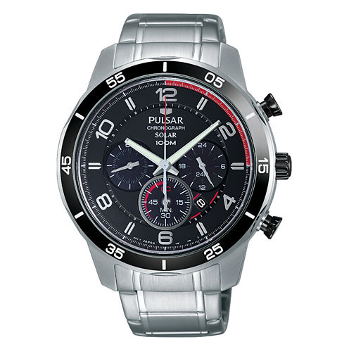 Pulsar® Mens Silver Tone And Black Chronograph Bracelet Watch PX5055