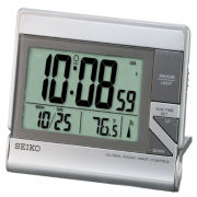 Seiko® Global Radio Wave Travel Alarm With Calensar And Thermometer QHR024SLH
