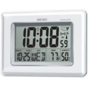 Seiko® R Wave Bedside Alarm With Thermometer, Hygrometer, And Automatic Calendar QHR020WLH