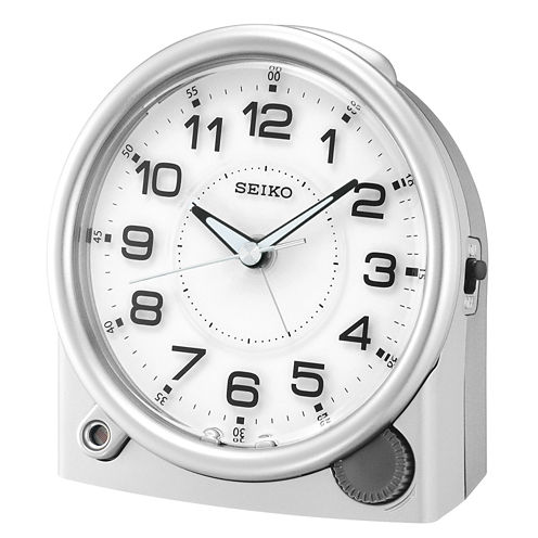 Seiko® Alarm Clock With Quiet Sweep Second Hand - Silver Tone QHE143ALH