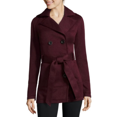 jcpenney.com | Liz Claiborne® Belted Fleece Trench Pea Coat