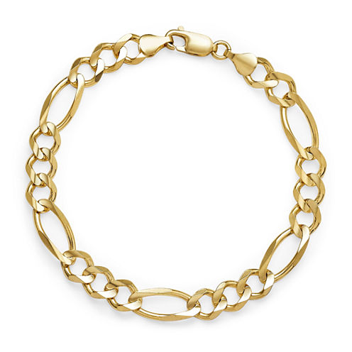 Made in Italy 14K Yellow Gold Solid 8.5 In Figaro Bracelet