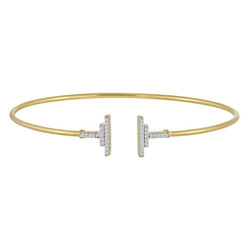 1/10 CT. T.W. Diamond 14K Gold Over Silver Bangle Bracelet