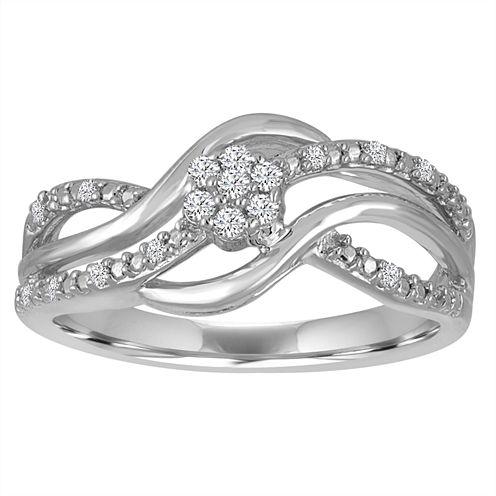 Diamond Blossom 1/10 Cttw Diamond Swirl Ring In Sterling Silver