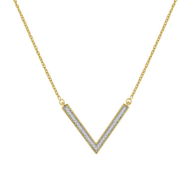 jcpenney.com | 1/10 CT. T.W. Diamond 14K Gold Over Silver Chevron Necklace