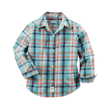 jcpenney.com | Carter's® Long-Sleeve Turquoise Plaid Woven Button-Front Shirt - Boys 4-8