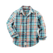 Carter's® Long-Sleeve Turquoise Plaid Woven Button-Front Shirt - Boys 4-8