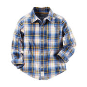 Carter's® Long-Sleeve Button-Front Plaid Cotton Shirt - Boys 4-8
