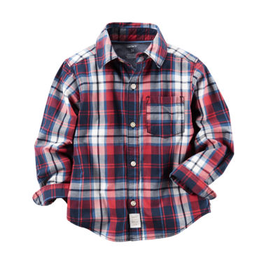 jcpenney.com | Carter's® Long-Sleeve Red Plaid Woven Button-Front Shirt - Boys 4-8