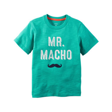 jcpenney.com | Carter's® Short-Sleeve Turquoise Macho Slogan Knit Tee - Boys 4-8