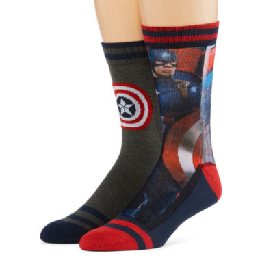 jcpenney.com | Marvel® Captain America 2-pk. Sublimated Crew Socks