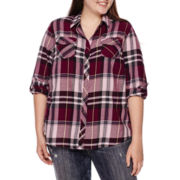 Arizona Long-Sleeve Classic Plaid Shirt - Juniors Plus