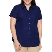 Arizona Short-Sleeve Woven Uniform Top - Juniors Plus