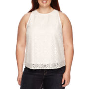 Arizona Sleeveless Allover Lace Top - Juniors Plus