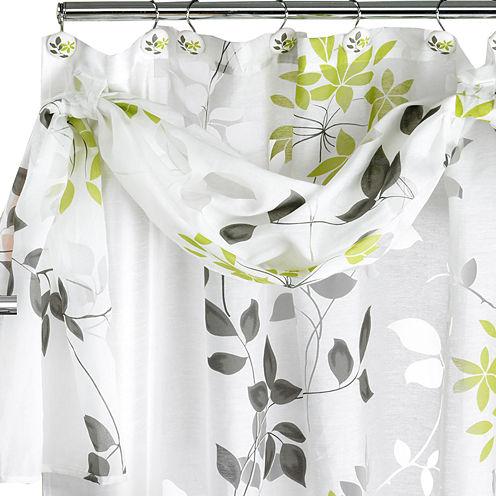 Popular Bath Mayan Leaf Shower Curtain with Valance