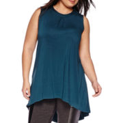 Worthington® Sleeveless Single-Pleat High-Low Tunic - Plus