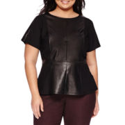 Worthington® Short-Sleeve Zipper Trim Ribbed Pleather Peplum Top - Plus