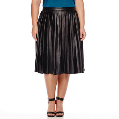 jcpenney.com | Worthington® Pleated Faux-Leather Midi Skirt - Plus