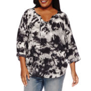 a.n.a® 3/4-Sleeve Lace-Up Top - Plus