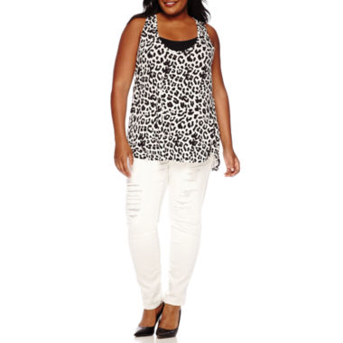jcpenney.com | a.n.a® Printed Racerback Tank Top, Essential Strappy Cami or Jeggings - Plus
