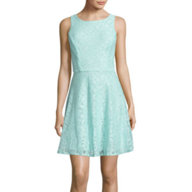 jcpenney.com | Speechless® Sleeveless Glitter Lace Fit-and-Flare Dress