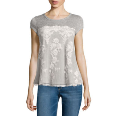 jcpenney.com | Rewind Short-Sleeve Lace-Front Tee