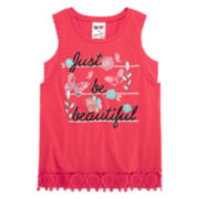 Belle Du Jour Bralette Tank Top with Crochet Trim Hem - Girls 7-16