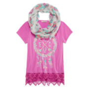 Self Esteem® Screen Print Short-Sleeve Top with Crochet Trim At Hem and Scarf - Girls 7-16