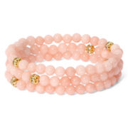 Pannee Coral-Colored Beaded Stretch Bracelet