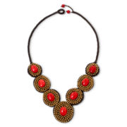 Pannee Red Rope Circle Necklace