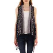 by&by® Aztec Print Drape-Front Vest
