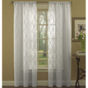 Laura Ashley® Preston Rod-Pocket Embroidered Sheer Panel Pair