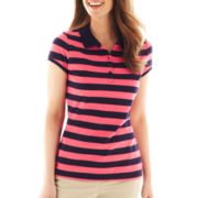 Liz Claiborne Short-Sleeve Striped Polo Shirt