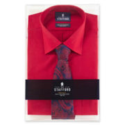 Stafford® Easy-Care Dress Shirt & Tie Boxed Set