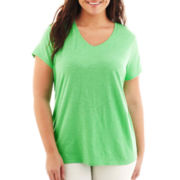 jcp™ Essential Short-Sleeve V-Neck Tee - Plus