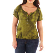 St. John's Bay® Short-Sleeve Tie-Dyed Peasant Top - Plus