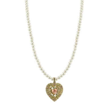 jcpenney.com | 1928® Jewelry Simulated Pearl and Gold-Tone Heart Pendant Necklace