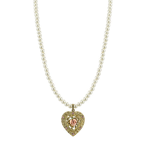 1928® Jewelry Simulated Pearl and Gold-Tone Heart Pendant Necklace