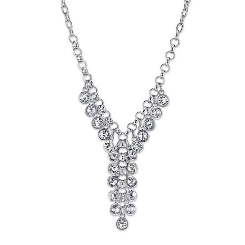 1928® Jewelry Crystal Cluster Silver-Tone Y Necklace