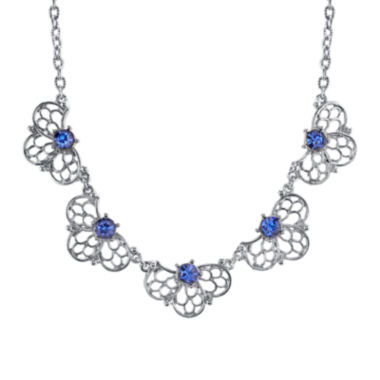 jcpenney.com | 1928® Jewelry Blue Crystal Silver-Tone Filigree Necklace
