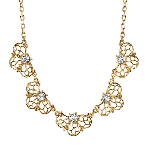1928® Jewelry Crystal Gold-Tone Filigree Necklace
