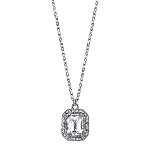 1928® Jewelry Crystal Silver-Tone Drop Pendant Necklace