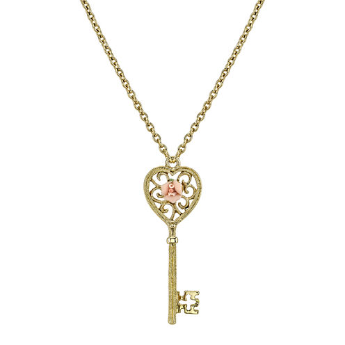 1928® Jewelry Gold-Tone Heart Key Pendant Necklace