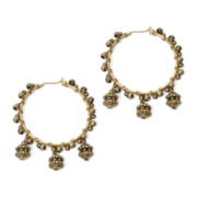 Aris by Treska Gold-Tone Textured Hoop Earrings