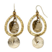 Aris by Treska Gold-Tone Disc Oval Drop Earrings