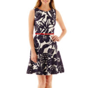 Alyx® Sleeveless Belted Fit-and-Flare Dress - Petite