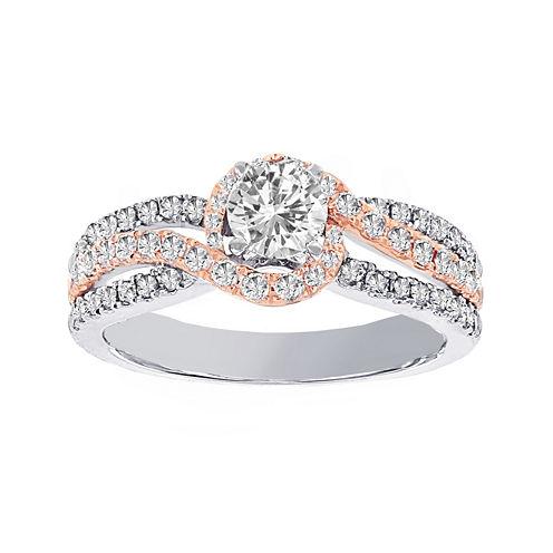 Lumastar 1 CT. T.W. Diamond 14K Two-Tone Gold Bypass Bridal Ring