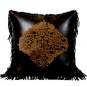 Austin Embroidered Faux-Leather Square Decorative Pillow