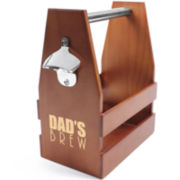 "Cathy's Concepts ""Dad's Brew"" Wooden Craft Beer Carrier with Opener"