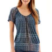 a.n.a® Short-Sleeve Banded Bottom Peasant Top